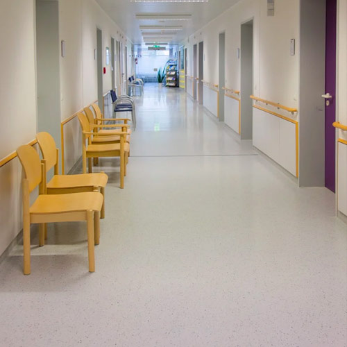 Safety flooring installed in a hospital